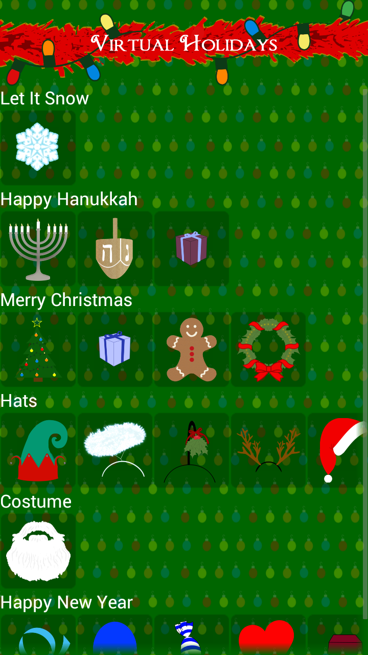Virtual Holidays Main Screen